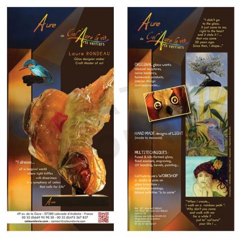 Flyer recto verso en anglais pour un artisan maître verrier