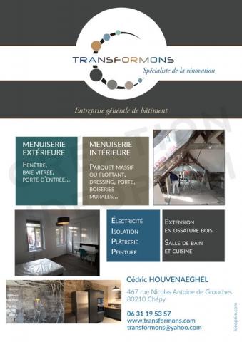 Transformons : flyer de lancement de l'entreprise